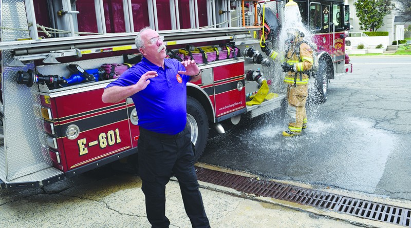 Rich Rochford discusses a new shower system designed for firefighters to wash hazardous particulates off their running gear before leaving a fire scene.