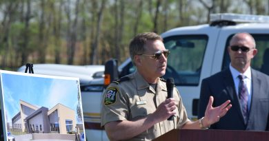 Sheriff Mike Chapman speaks during the groundbreaking ceremony of the new Ashburn Substation.