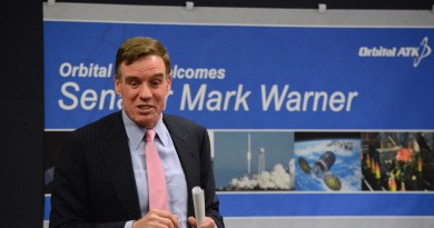 U.S. Sen. Mark Warner (D-Va.) speaks in an employee town hall at Orbital ATK. (Renss Greene/Loudoun Now)