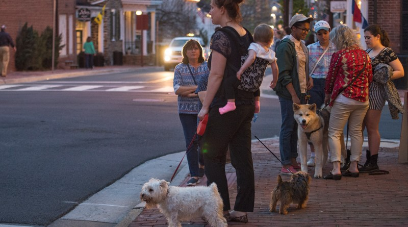 Large crowds attended First Friday in Leesburg on April 1 where every shop and restaurant in downtown has live music, wine tastings and little art exhibits.    (Photo by Douglas Graham/Loudoun Now)