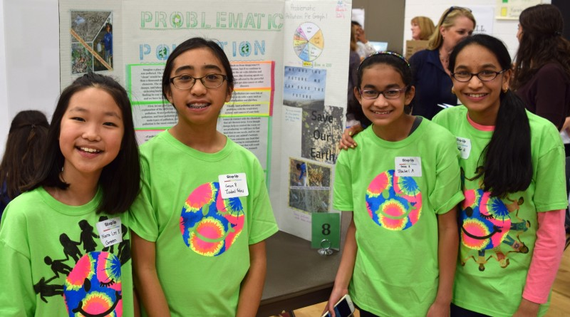 J. Michael Lunsford Middle School students present their project, Problematic Pollution, during the Step Up Loudoun Youth Competition March 29. (Courtesy of Zachary Goldman)