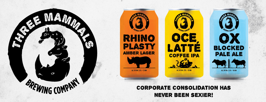 A Three Mammals beer lineup from the fake announcement.