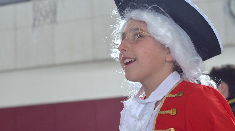 Kaylie, a fourth-grader at Catoctin Elementary School, represented Patrick Henry at the school's annual Wax Museum. (Danielle Nadler/Loudoun Now)