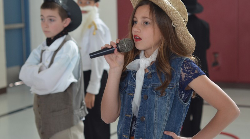 Tate, a fourth-grader at Catoctin Elementary School, took on the role of Patsy Cline as part of the school's annual Wax Museum. (Danielle Nadler/Loudoun Now)