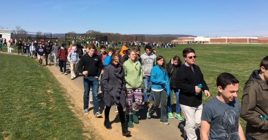 Woodgrove High School students take part in the We're All Human Walk Wednesday. (Danielle Nadler/Loudoun Now)