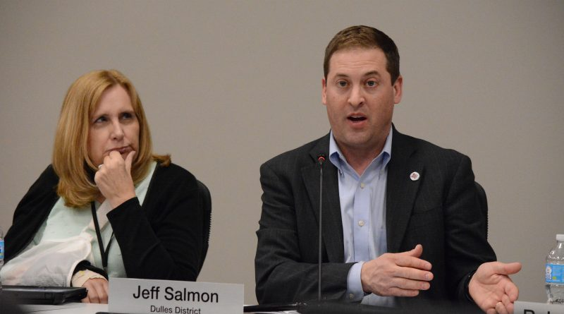 Commissioner Kathy Blackburn (Algonkian) and Chairman Jeff Salmon (Dulles) work out the details of a proposed amendment to allow craft breweries and distilleries in Loudoun. (Renss Greene/Loudoun Now)