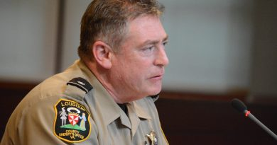 Loudoun County Sheriff's Office Lieutenant Colonel Robert Buckman announces the LCSO's move to outfit all patrol deputies with nasal naloxone at the Board of Supervisors meeting Thursday, April 21. (Renss Greene/Loudoun Now)