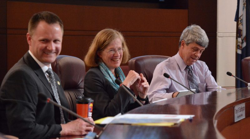 The three veterans on the Board of Supervisors share a laugh. From left, former Marine sergeant Tony R. Buffington (R-Blue Ridge), former Naval Reserve lieutenant Supervisor Kristen C. Umsttattd (D-Leesburg), and former Air Force captain Vice Chairman Ralph M. Buona (R-Ashburn). (Renss Greene/Loudoun Now)