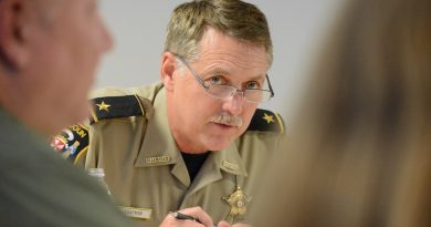 Sheriff Michael Chapman speaks at a joint Leesburg-Loudoun policing committee April 6. (Renss Greene/Loudoun Now)