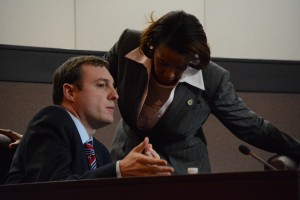 Supervisor Matthew F. Letourneau (R-Dulles) and Chairwoman Phyllis J. Randall (D-At Large) confer. (Renss Greene/Loudoun Now)
