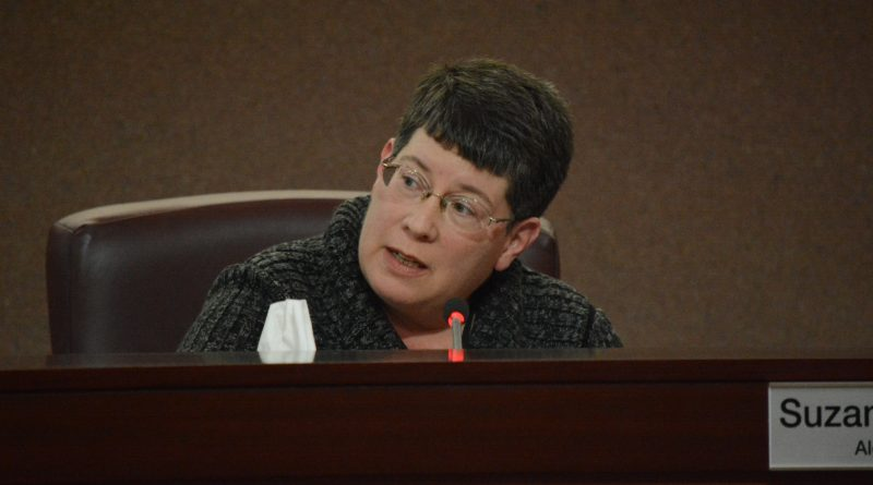 Supervisor Suzanne M. Volpe (R-Algonkian) speaks at a budget work session March 24. (Renss Greene/Loudoun Now)