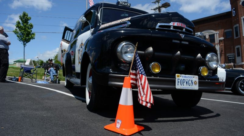 An antique police car from the Loudoun-Dulles Fraternal Order of Police on display at the Ashburn Volunteer Fire and Rescue grand opening. (Renss Greene/Loudoun Now)