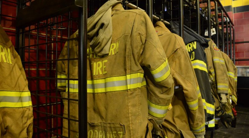 Turnout gear hangs in the new Company 6 station. (Renss Greene/Loudoun Now)