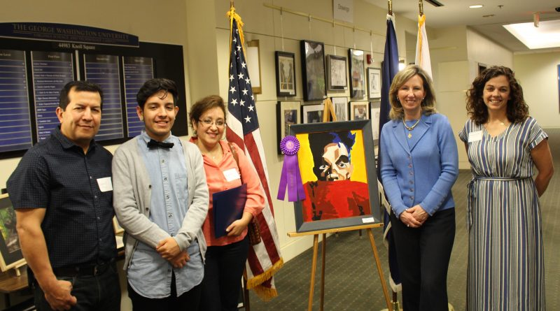 Rafy Aguilar poses with his parents, Rep. Barbara Comstock, and Shannon Freeman, his art teacher at Dominion.