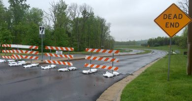 The Leesburg Town Council  wants to keep these Kincaid Boulevard barriers in place, although the county government has completed a connection to Bolen Park and a commuter parking lot on the other side.