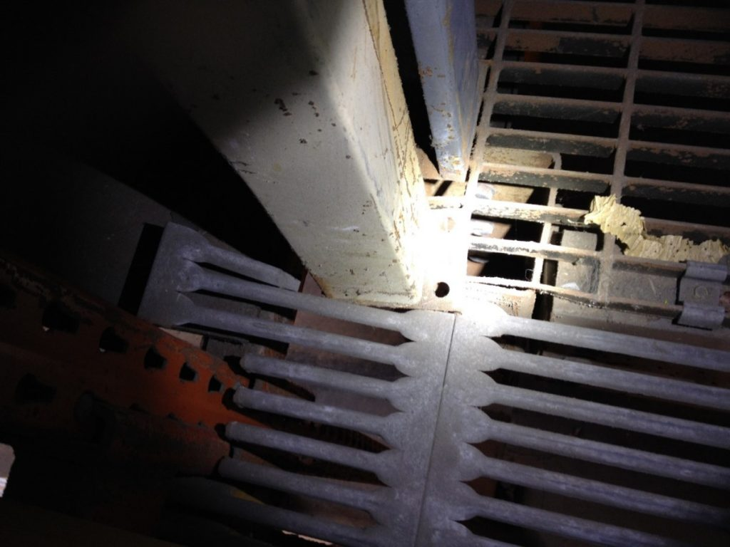 A support beam in a warehouse supported by only inches of metal, documented by the Loudoun County Fire Marshal's office.