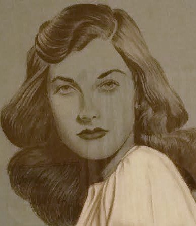 Jacqueline Freer Clark, a drawing by her husband, Dale, in l947.