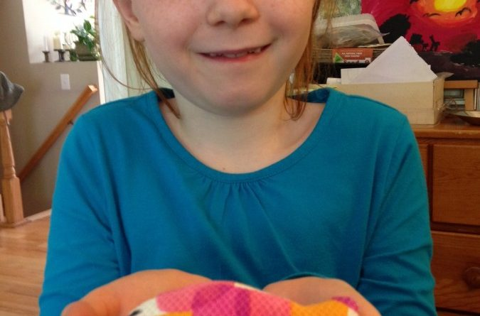 Leesburg second-grader Rowan Gillespie shows off a handmade pet toy made by members of the school's Paws and Claws Club.