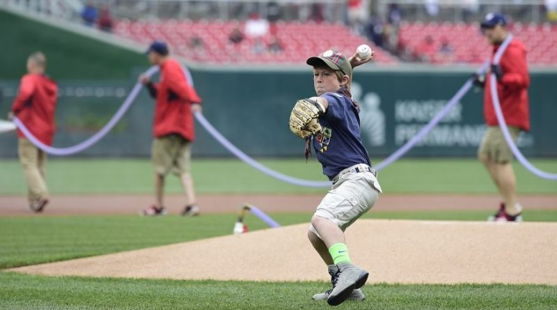 Matthew Melvin throws out the first pitch at the April 25 Washington Nationals game.  [Patrick McDermott photo]