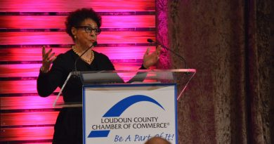 Sheila Johnson, owner of Salamander Resort & Spa and co-founder of Black Entertainment Television, addressed a full house at the Loudoun County Chamber of Commerce's Lessons in Leadership luncheon Thursday. (Shawn Ouellette/Loudoun Now)