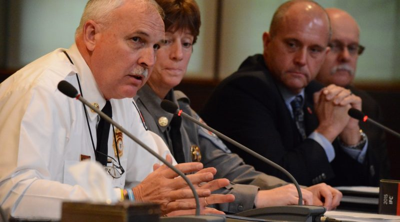 Combined Fire-Rescue System Chief W. Keith Brower Jr., Chief Fire Marshal Linda Hale, Chesterfield County Assistant Fire Chief Rob Dawson, and Fairfax County Fire Marshal Captain George Hollingsworth tell the Board of Supervisors finance committee about their battle in Richmond. (Renss Greene/Loudoun Now)
