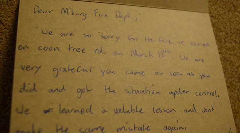 A thank-you note from two people helped by Middleburg volunteers.