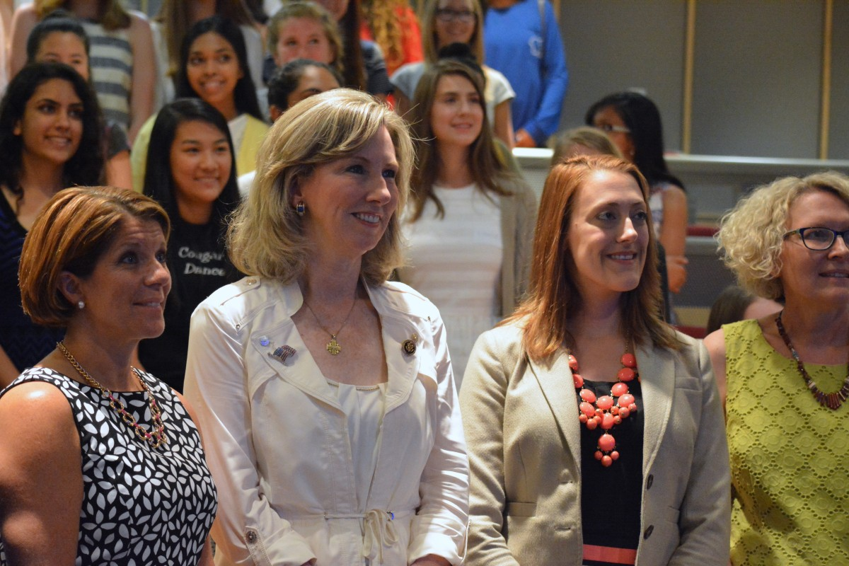 From left, Vice President of Government Relations for Inova Health System Jennifer Siciliano, Rep. Barbara Comstock (R-VA-10), bioengineer Catherine Ross and Dr. Rebecca Filla were among the professionals who spoke at Tuesday's event. (Pariss Briggs/Loudoun Now)
