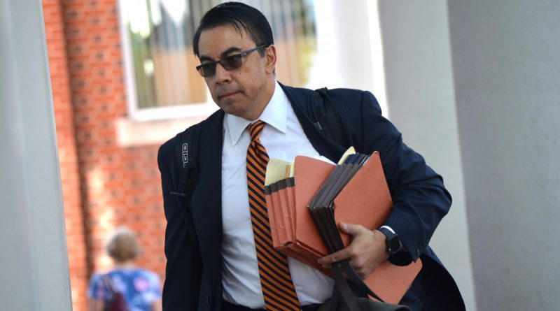 Braulio M. Castillo, charged with murdering his estranged wife, heads into the Loudoun County Courthouse on June 10. (Danielle Nadler/Loudoun Now)