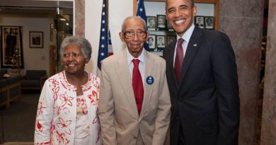 Charles P. Clark, center, pictured with President Barack Obama. (Courtesy Mount Zion United Methodist Church)