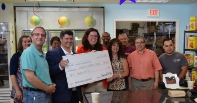 The staff at Loudoun Interfaith Relief gather behind the gift check, following the surprise announcement of a $20,000 donation from General Mills.