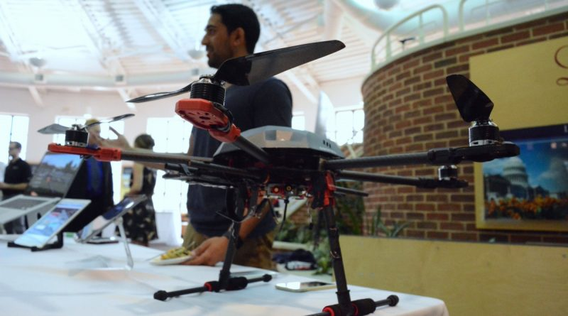 Ravi Gangele, Raven founder, with a hexacopter carrying his company's drone operating system. (Renss Greene/Loudoun Now)