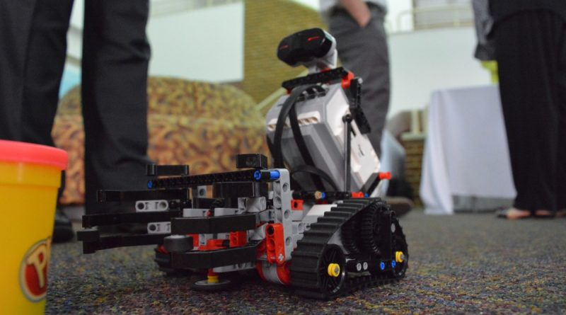 A robot assembled by students at TYKE in Leesburg. (Renss Greene/Loudoun Now)