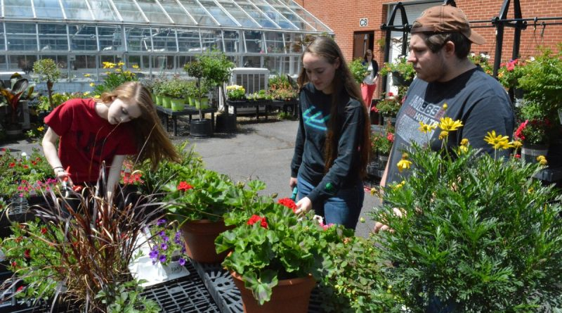 From left, Alexa Knoell, Lauren Munno and Hunter Almond are eyeing careers related to environmental sciences after taking part in C.S. Monroe Technology Center's biotechnology course. (Shawn Ouellette/Loudoun Now)