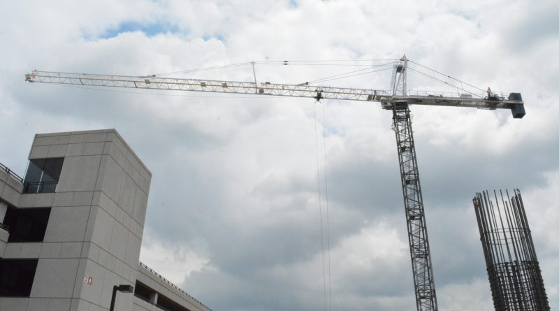 A crane at the Dulles Airport metro station construction site.