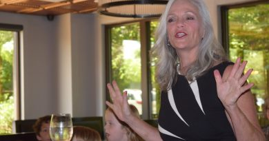 Gwen Pangle speaks to a crowd of supports at her campaign kick off event Sunday. (Norman K. Styer/Loudoun Now)