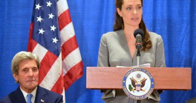 Actress and United Nations High Commissioner for Refugees Special Envoy Angelina Jolie, with U.S. Secretary of State John F. Kerry, speaks about the global refugee crisis at the All Dulles Area Muslim Society in Sterling Monday. (Danielle Nadler/Loudoun Now)
