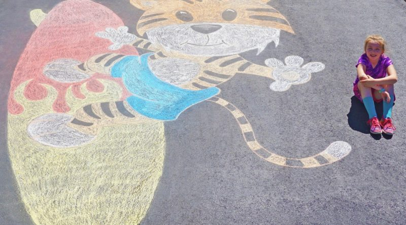 Eight-year-old Daniella Hunter, a student at Ball's Bluff Elementary School, was greeted with this chalk design upon arriving home from school on the last day. (Courtesy of Margie Hunter)