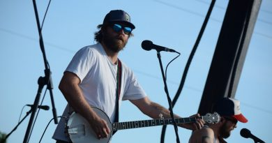 Trampled by Turtles banjo player Dave Carroll plays the Americana Beer Fest stage. (Renss Greene/Loudoun Now)