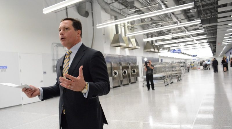 K2M founder, president and CEO Eric Major in the receiving bay where tools sent to hospitals are returned, cleaned again, inspected, returned to service. (Renss Greene/Loudoun Now)