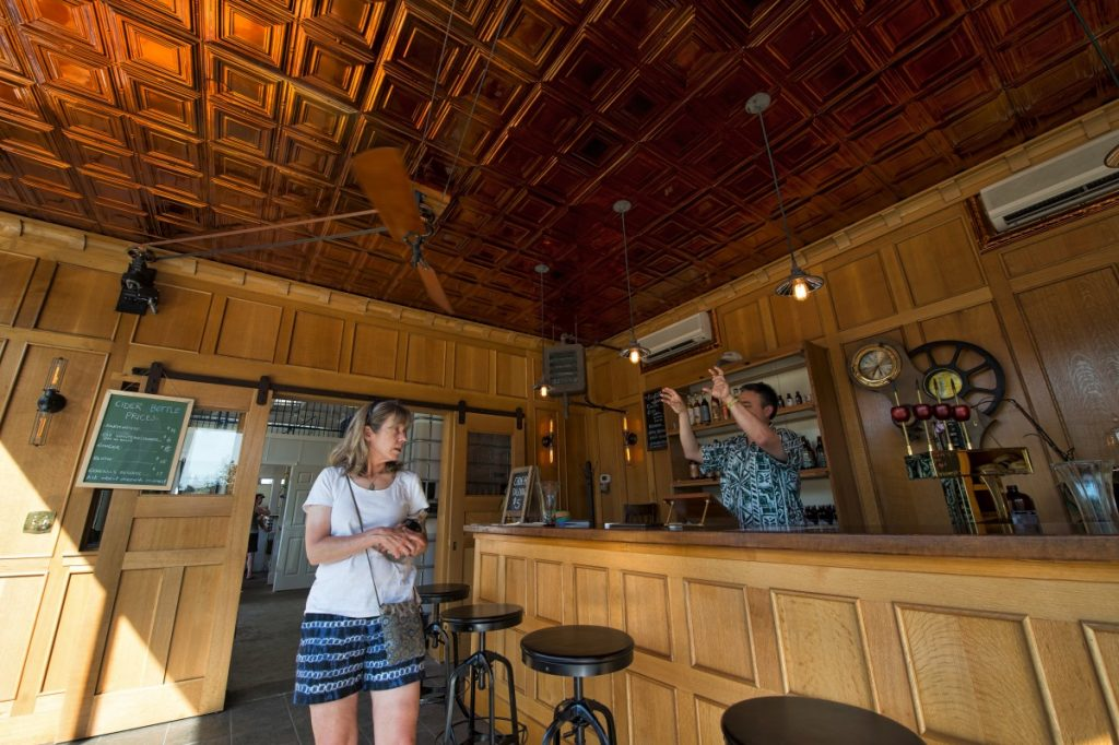 Inside the tasting room of Mt. Defiance Cidery & Distillery in Middleburg. (Douglas Graham/Loudoun Now)