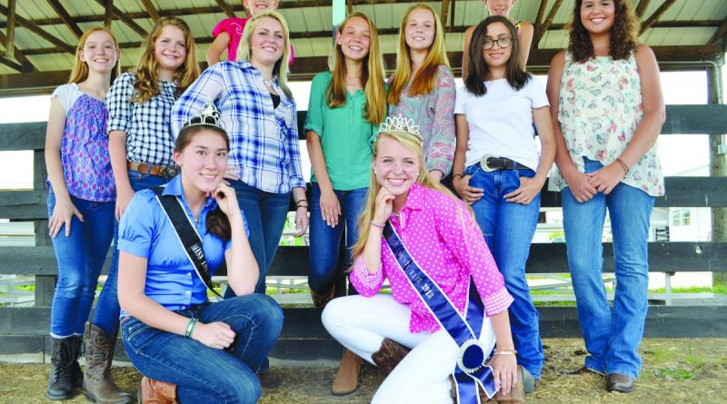 Contestants for Miss Loudoun County Fair gathered at the fairgrounds this week to prepare for the pageant. In front, Jacquelyn Noel and Cary Brown are both previous pageant winners and now help run the pageant as assistant director and director, respectively.  [Danielle Nadler/Loudoun Now]