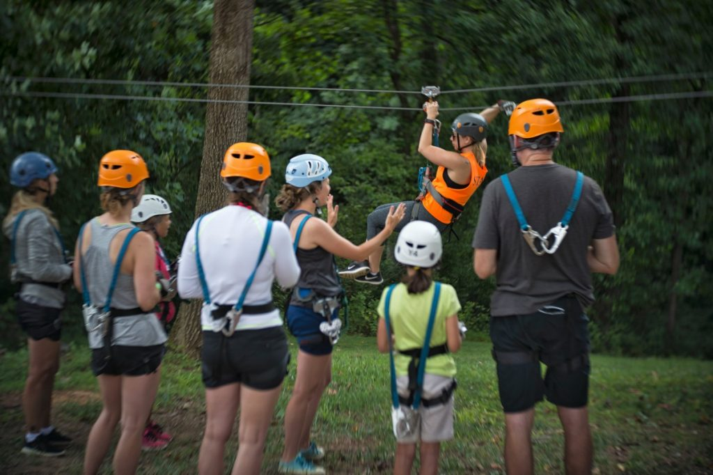 The Harpers Ferry Adventure Center's zip line course offers a tree-top view of the forest near the planned state park in northern Loudoun. (Douglas Graham/Loudoun Now)