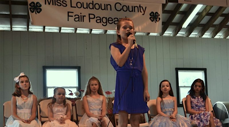 Bea Furlow, 9, answers a question during the Miss Loudoun County Fair Pageant.  (Danielle Nadler/Loudoun Now)