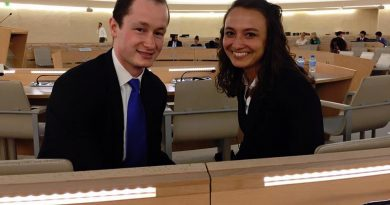 William Bock and Helaina Hirsch, rising juniors at Patrick Henry College in Purcellville, won the Nelson Mandela World Human Rights Moot Court Competition on July 20. (Patrick Henry College)