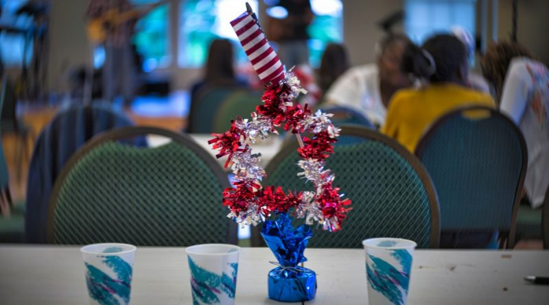 A table at the Waterford Citizens Association community potluck dinner and pie-baking contest awaits guests. (Douglas Graham/Loudoun Now)