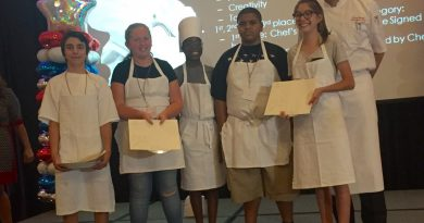 Executive Chef Chris Ferrier with contestants in the savory category. From left, second place winner Ryan Vanesko, third place winner Tabitha Ann Strain, Francis Gordon, Kameron Coleman, first place winner Ashley Jones, and Ferrier. (Benoit Marketing LLC)