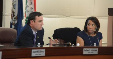 Finance committee Chairman Matthew F. Letourneau (R-Dulles) and county Chairwoman Phyllis J. Randall (D-At Large) at the finance committee meeting Tuesday, July 12. (Renss Greene/Loudoun Now)