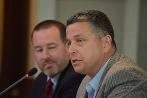 From left, Nighttime Economy Ad Hoc Committee co-chairmen Todd Pearson and Tony Howard speak to the county finance committee. (Renss Greene/Loudoun Now)
