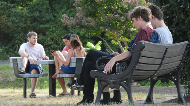 Georgetown Park now stays busy with Pokémon Go players, searching for Pokémon and socializing. (Renss Greene/Loudoun Now)