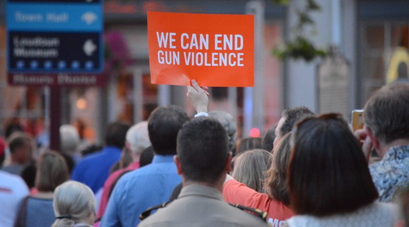 Demonstrators from Moms Demand Action for Gun Sense In America hold up signs during the vigil. (Renss Greene/Loudoun Now)